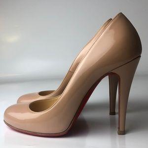 Louboutin Ron Ron Nude Patent Calf Heels 35